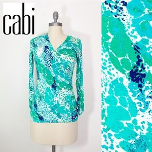 Cabi Faux Wrap V neck Shirt green blue small